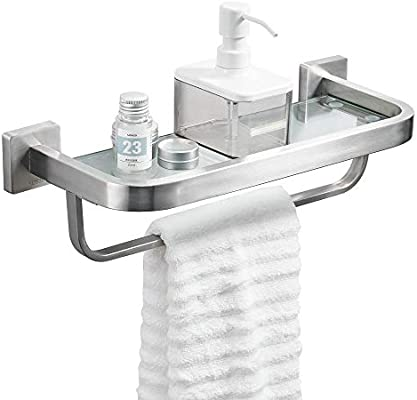 Awe Inspiring Besy Bathroom Lavatory Glass Shelf With Towel Bar And Rail Wall Mount With Screws Heavy Duty Sus304 Stainless Steel Storage Shelves Square Base Download Free Architecture Designs Scobabritishbridgeorg