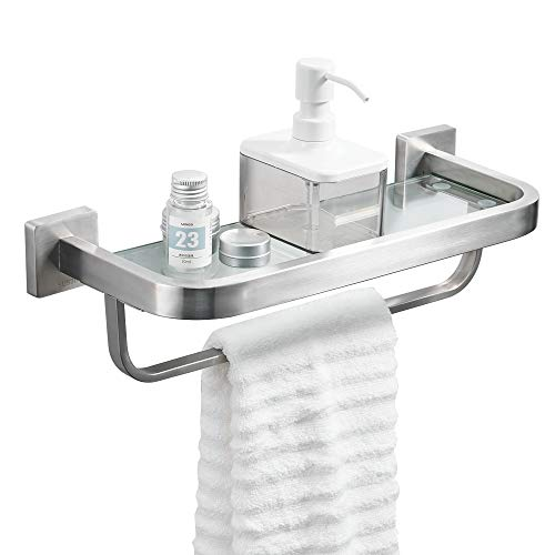 BESy Bathroom Lavatory Glass Shelf with Towel