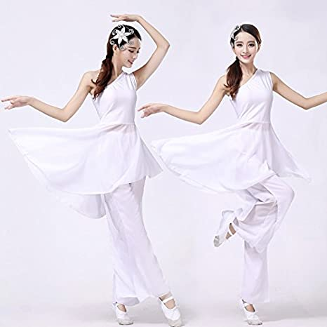 Classical Dance Set Performance Clothes Contemporary Dance Dress Modern Dance Dress White and elegant , S