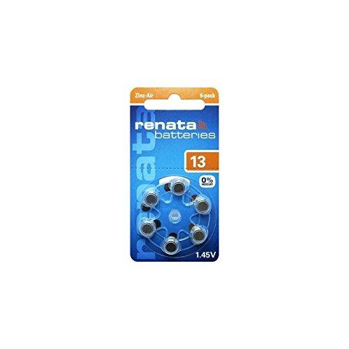 Renata 13 Zinc Air-Activated Hearing Aid Battery - 6 Pack (Za13 Hearing Aid)