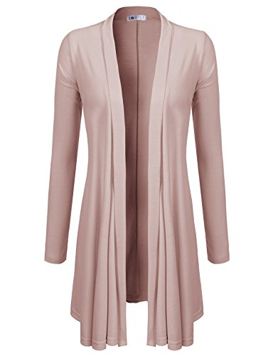 Three Cardigan Button Long (H2H Women's Open Front Casual Comfy Flowy Long Line Modal Cardigan INDIPINK US L/Asia L (CWOCAL072))