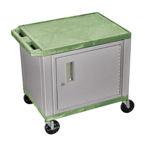 UPC 812552017760, H WILSON WT26GC4E-N 2-Shelf AV Cart with Cabinet, Tuffy, Green