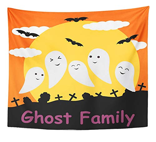 Emvency Tapestry Artwork Wall Hanging Colorful Costume Cute Ghost on Moon Cartoon Halloween and Design Orange Kid Bat 50x60 Inches Tapestries Mattress Tablecloth Curtain Home Decor Print ()