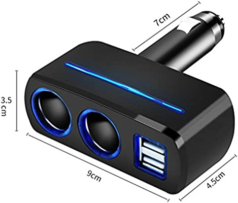 Multi Socket Auto Car Cigarette Lighter Splitter Dual USB Car Charger Adapter with 2 Socket Cigarette Lighter Adapter for iPhoneX,XR,XS,11,11 Pro,Xs Max,8,Samsung Galaxy, HTC LG and More (Black)