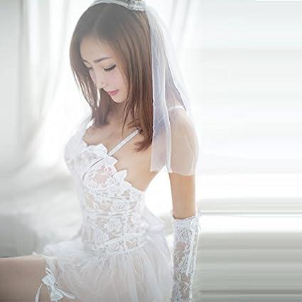 Zygeo - Lencería erótica Porno Para vestido de novia de las mujeres de Cosplay Novia blanca