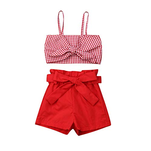 2PCS Toddler Kids Baby Girl Halter Outfits Set Bowknot Top Short Pant Skirt Summer Clothes Set (5-6T, Red) ()