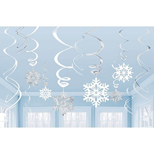12 Silver White Hanging Snowflake Swirl Decorations For Frozen Themed Parties (B0100K3H3G) Amazon Price History, Amazon Price Tracker