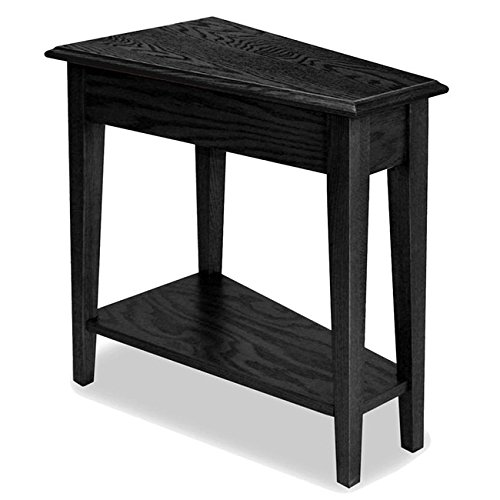 Modern Transitional Solid Oak Accent End Table with Bottom Shelf in Black Finish – Includes Modhaus Living Pen