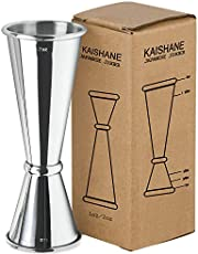 KAISHANE Japanese Style Double Cocktail Jigger, 304 Stainless Steel 1oz-2oz Measuring Cup for Bar Home Bartender Party Wine Drink