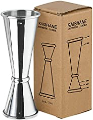 KAISHANE Japanese Style Double Cocktail Jigger, 304 Stainless Steel 1oz-2oz Measuring Cup for Bar Home Bartend