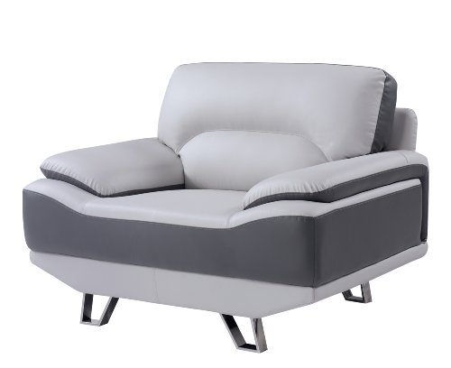 Global Furniture Natalie Chair, Light Grey and Dark Grey