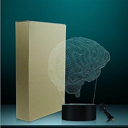 Forma Anatómica Del Cerebro 3D Ilusión Óptica Luz Nocturna Ciencia Médica Órgano Del Cerebro Luz Mágica Lámpara De Mesa Creativa Iluminación