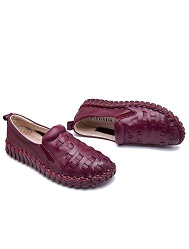Vogstyle Damen Neu Hohl Mokassins Flach Loafer Slipper Schuhe Style 4-Burgund