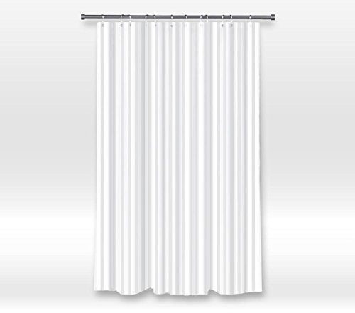 YEHO Art Gallery Hotel Quality Waterproof Washable Fabric Shower Curtain Liner with Metal Grommets,Mildew Resistant,White Tonal Damask Stripe Shower Rings Included 48 x 72