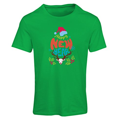 lepni.me Women's T-Shirt Happy New Year Vintage Design Holiday Vacation Outfits (Small Green Multi Color) -