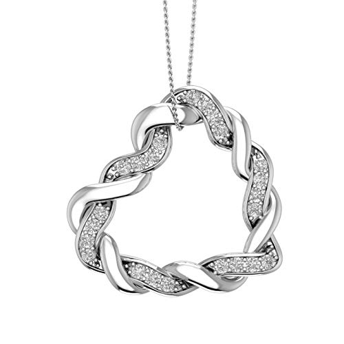 - 14K White Gold Pave Set Diamond swirl Sideway Heart Pendant Necklace (0.40 ctw) with Silver Chain - IGI