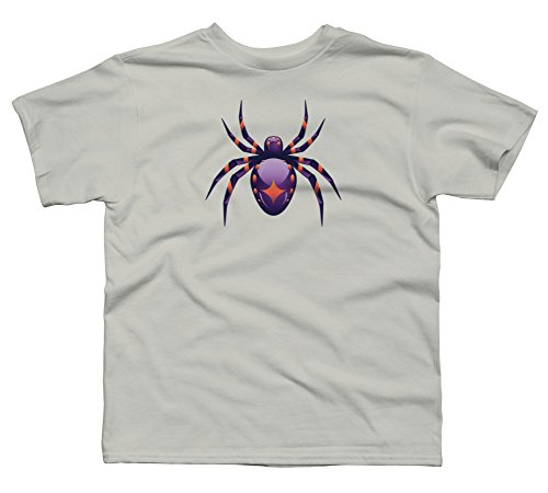 Violet Spider Boy's Large Silver Youth Graphic T Shirt - Design By Humans