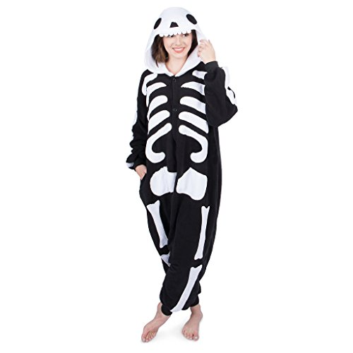 Emolly Fashion Adult Skeleton Animal Onesie Costume Pajamas for Adults and Teens (Small, Skeleton) Black/White