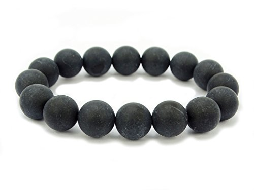 jennysun2010 Handmade Natural Matte Frosted Black Onyx Gemstone Round Beads 12mm Stretchy Bracelet Healing 7.5'' Inches Wrist ( 16pcs Beads in the Bracelet )