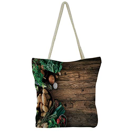 Handbag Cotton and linen shoulder bag Small and fresh literature and art,Harvest,Vibrant Fresh Vegetables on Grunge Backdrop Ripe Organic Healthy Food Agriculture,Multicolor,Picture Print Design.