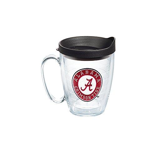 Tervis 1056676 Alabama Crimson Tide Tumbler with Emblem and Black Lid 16oz Mug, Clear Alabama Crimson Tide Coffee