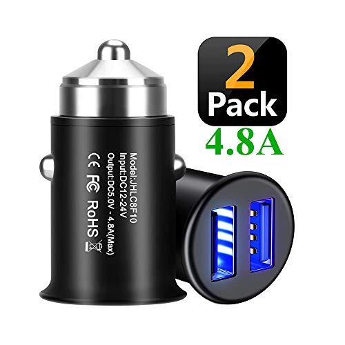 USB Car Charger[2-Pack],Bralon Mini 4.8A Aluminum Alloy Car Charger Adapter Dual Ports Rapid Car Charging Flush Compatible Galaxy S10/S9/S8/S7,iPhone Xs(Max)/Xr/X/8/7/6,Pad,LG,HTC,Pixel,Nexus and More