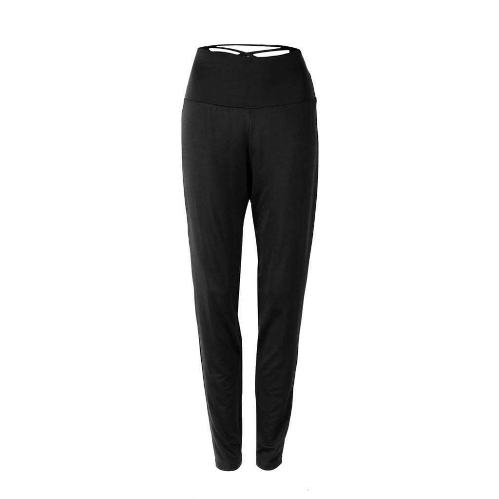 Women Yoga Pants, High Waisted Solid Color Gym Sport Seamless Leggings Body Slimming Pants (XL, Black)