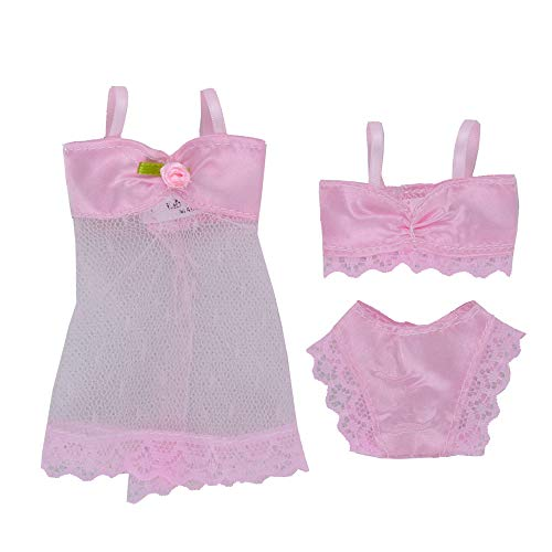 E-TING 2 Set 6 Pcs White and Pink Fashion Pajamas Lingerie Lace Dress Clothes for Girl Dolls
