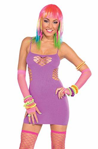 Forum Novelties Women's Fishnet Sweetheart Dress, Neon Purple, One Size for $<!--$18.21-->