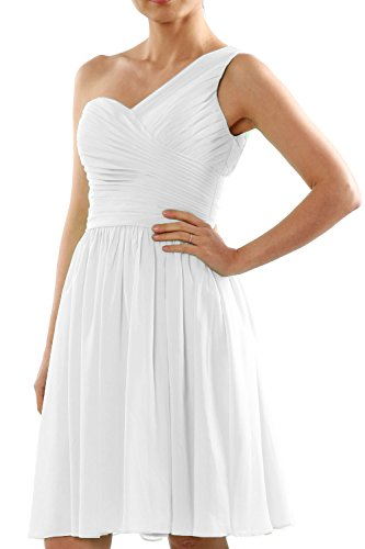MACloth Women One Shoulder Short Chiffon Wedding Bridesmaid Dress Made-to-Order Blanco