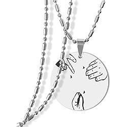 Rock-paper-scissors Round Shape Pendant Necklace
