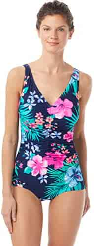aa66ce8b5f09f Gabar Chlorine Resistant Hydrofinity Navy Native Floral Underwire V-Neck  Girl Leg One Piece Swimsuit