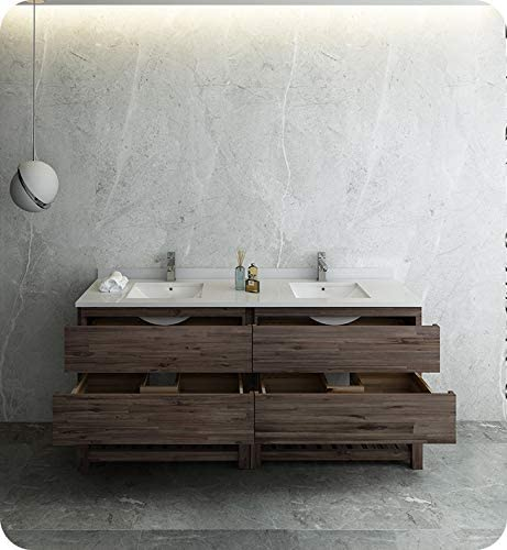 Fresca Formosa 72 Floor Standing Open Bottom Double Sink Modern Bathroom Cabinet w//Top /& Sinks