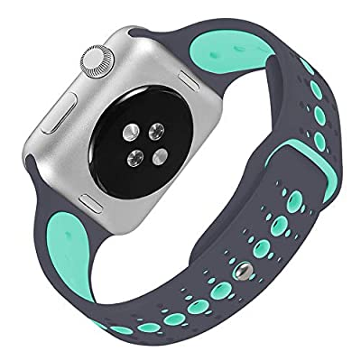 KOLEK Bands Compatible Apple Watch 38mm / 42mm, Soft Silicone Sport Replacement Wristband Compatible iWatch Series 3 Series 2 Series 1, 10 Colors Available