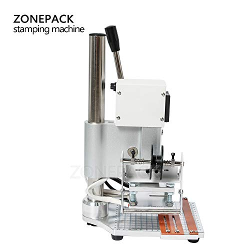 ZONEPACK 1013cm Digital Embossing Machine Hot Foil Stamping Machine Manual Tipper Stamper for PVC Leather Pu and Paper Stamping with Paper Holder and Scale by ZONEPACK (Image #1)