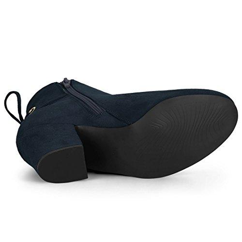K Allegra Heel Toe Round Ankle Women's Blue Navy Block Boots BgnOgdSxf