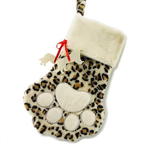 CFP Leopard Dog Paw Stocking - Pet Christmas Stocking, Dog Paw Stocking, Personalized Dog Christmas Stocking (Dog paw)]()