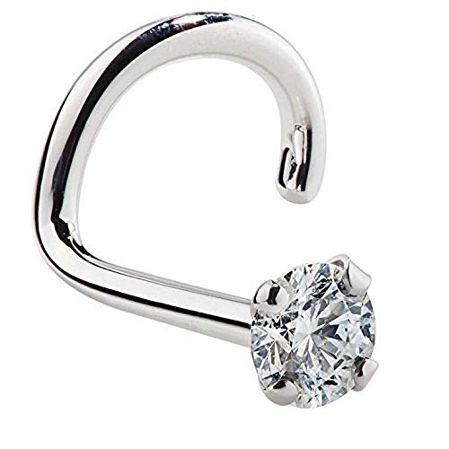 FreshTrends 1.5mm 0.015 ct. tw Diamond 14K White Gold Nose Ring Twist Screw 20G ()