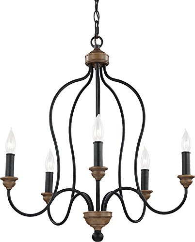 Weathered Bronze Silhouette - Feiss F2998/5DWZ/WO Hartsville Farmhouse Candle Chandelier Lighting, Bronze, 5-Light (24