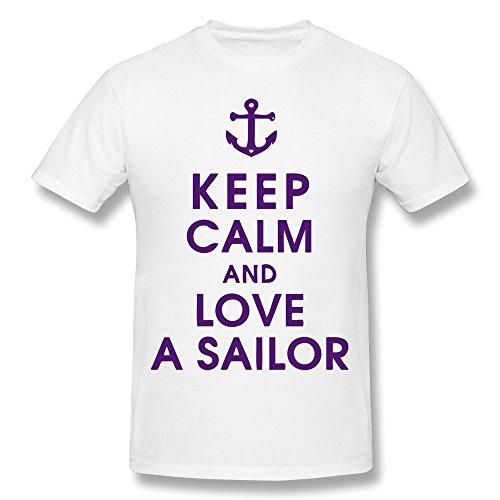 PTCY Men's Custom Tshirt Geek Keep Calm Love Sailor M White