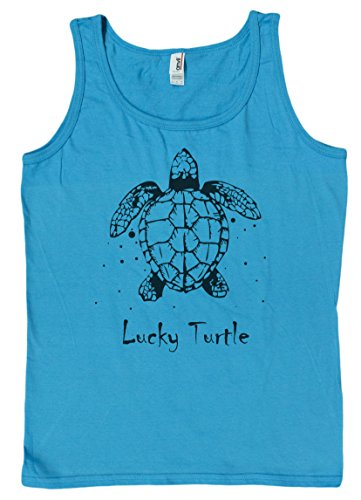 Ladies Very Lucky Turtle Loose Fit Tank Top (Large, (Anvil Womens Tank Top)