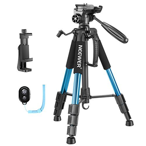 Neewer 56 inches Aluminium Camera Tripod with 3-Way Swivel Pan Head, Cellphone Holder, Bluetooth Remote, Bag for iPhone, Samsung, Huawei Smartphone, DSLR Camera, Load Up to 8.8 Pounds Blue(SAB234) by Neewer