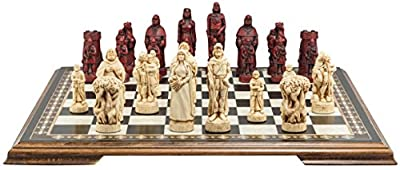 Robin Hood Themed Chess Set - 4.5 Inches - In Presentation Box - Handmade in UK - Ivory and Burgundy
