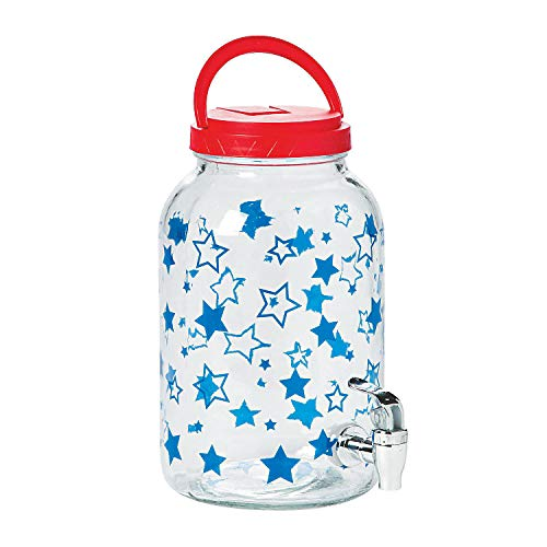 Fun Express - Patriotic Glass Sun Tea Jug for Fourth of July - Home Decor - Entertaining - Serveware - Fourth of July - 1 Piece ()