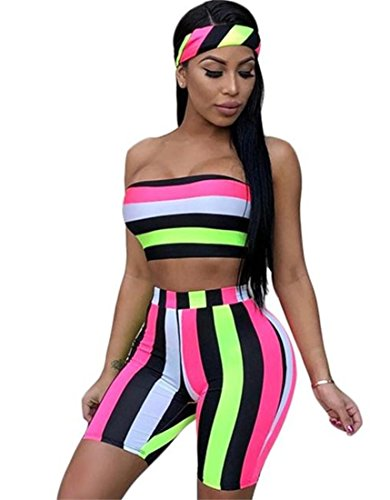 DingAng Women Sexy Off Sholuder Tube Crop Tops Short Bodycon Pants Jumpsuits with Scarf 3 Piece Outfits
