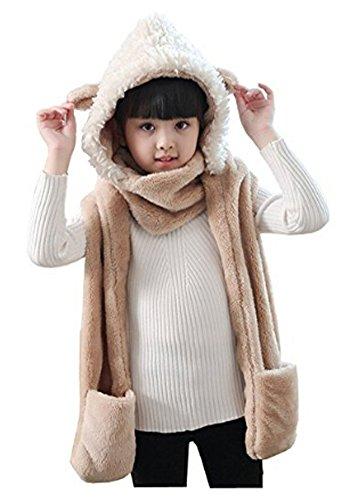 Kids Teens Girls 3 in 1 Warm Plush Fluffy Cartoon Winter Hats Scarf Mitten Gloves with Pockets Hoodie Cap Costume Gift