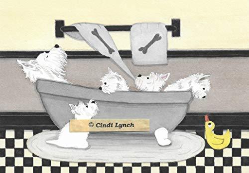 (Lynch West Highland Terriers (Westies) Fill Bathtub Folk Art Print)
