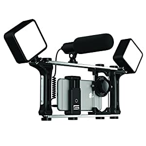 DREAMGRIP EVOLUTION MOJO Universal Transformer Rig for smartphones, action cameras, DSLR cameras. The set for journalists with wired gun microphone and LED lights. Smart Filming System