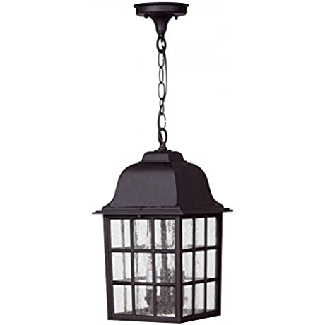 Craftmade Z571 05 Hanging Lanterns With Seeded Glass Shades Black