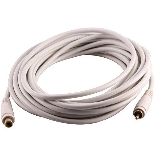 (Seismic Audio 25 Foot White Male Female Audio Extension Cable AV RCA Extender Cord (SA-PGSR25White))